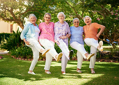 Buy stock photo Full length portrait of a group of senior friends doing the can-can outside
