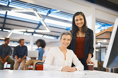 Buy stock photo Cropped portrait of two female designers working together in their office