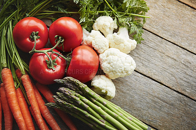 Buy stock photo Shot of a variety of fresh produce on a table