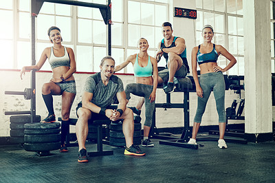 Buy stock photo Portrait of a group of young people at the gym