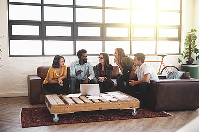 Buy stock photo Full length shot of a group of young designers having a meeting in a modern office