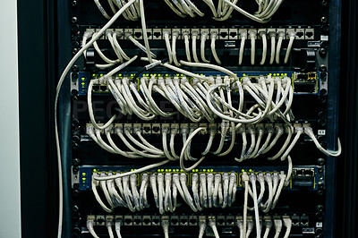Buy stock photo Shot of computer cabling in a data center