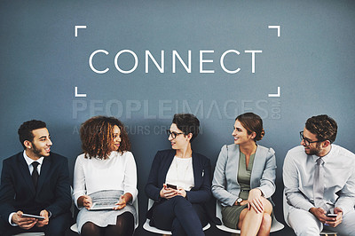 Buy stock photo Studio shot of businesspeople talking while waiting in line with the word network above them against a gray background