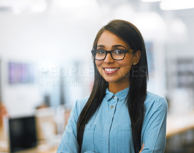 Buy stock photo Portrait of a university student working in the library at campus