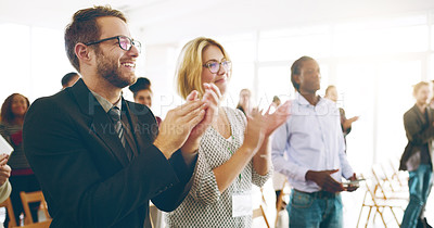Buy stock photo Cropped shot of a group of corporate businesspeople applauding during an award ceremony
