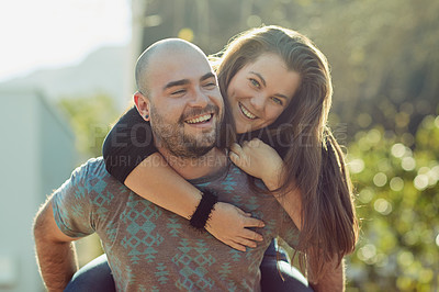 Buy stock photo Cropped shot of a young couple outdoors