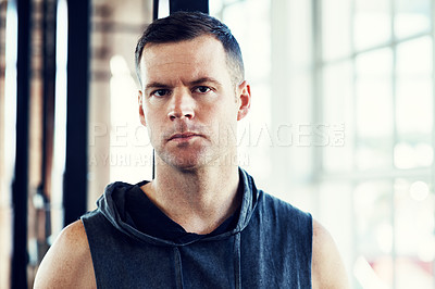 Buy stock photo Portrait of a young man in a  gym