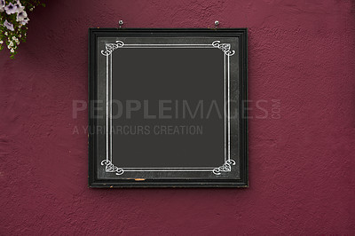 Buy stock photo Cropped shot of a blank sign on a red wall