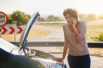 Buy stock photo Shot of a vehicle broken down on the side of the road