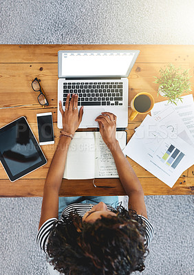 Buy stock photo Shot of an unrecognizable woman working from home