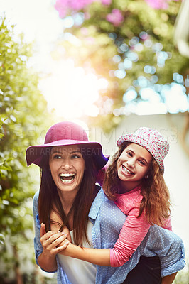 Buy stock photo A happy mother and daughter spending time together outdoors