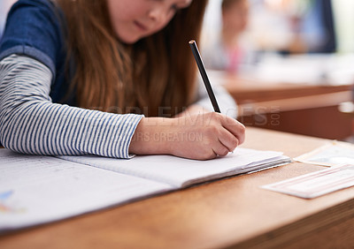 Buy stock photo Cropped shot of elementary school children in class