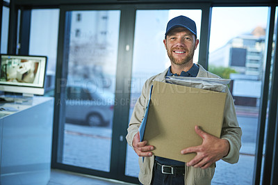 Buy stock photo Shot of a young man making a home delivery