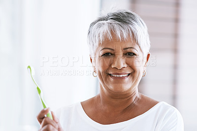 Buy stock photo Portrait of a cheerful mature woman holding a toothbrush while looking into the camera at home