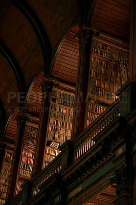 Buy stock photo Cropped shot of a large, vintage library full of books