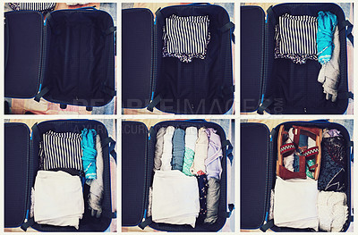 Buy stock photo High angle shot of a suitcase packed with clothing