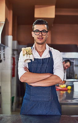 Buy stock photo Shot of men working at a restaurant