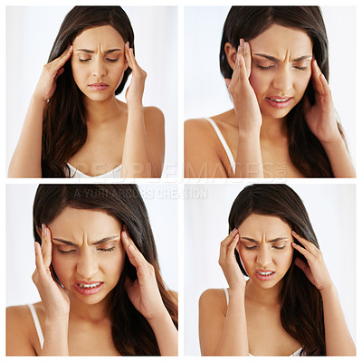 Buy stock photo Composite image of a young woman experiencing stress at home