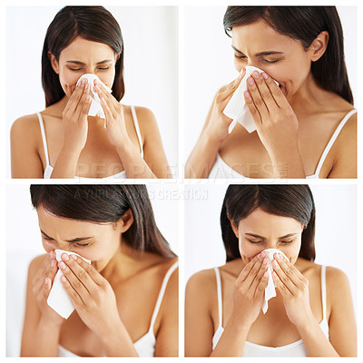 Buy stock photo Composite image of a young woman blowing her nose at home