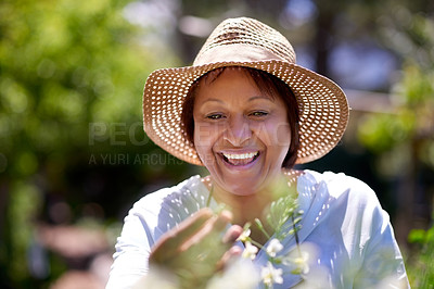 Buy stock photo Shot of a mature woman gardening at home