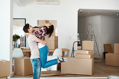 Buy stock photo Cropped shot of an affectionate couple moving into a new place