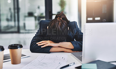 Buy stock photo Cropped shot of an unrecognizable businesswoman sleeping in her office