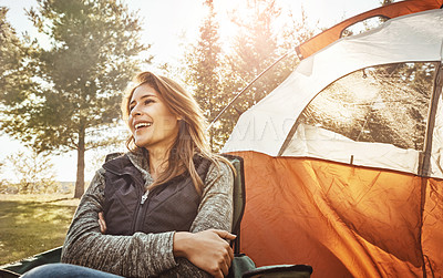 Buy stock photo Shot of a young beautiful woman camping in the forest