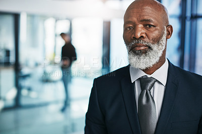 Buy stock photo Portrait of a mature businessman standing in a modern office