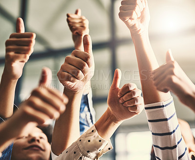 Buy stock photo Closeup shot of a group of unrecognizable people showing thumbs up together