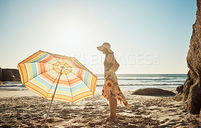 Buy stock photo Cropped shot of a beautiful young woman at the beach