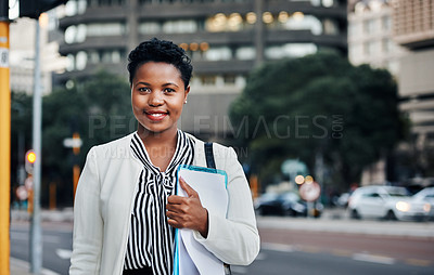Buy stock photo Portrait of an ambitious young businesswoman in the city
