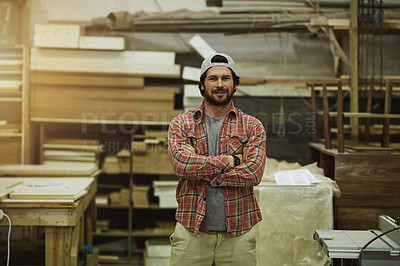 Buy stock photo Cropped shot of craftsman standing in his workshop