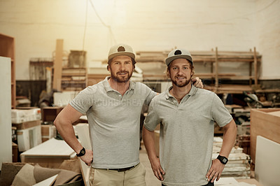 Buy stock photo Cropped portrait of two handsome male carpenters standing in their workshop