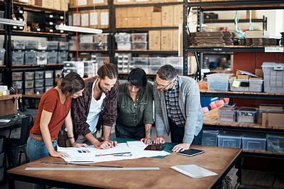 Buy stock photo Shot of designers working in the workshop
