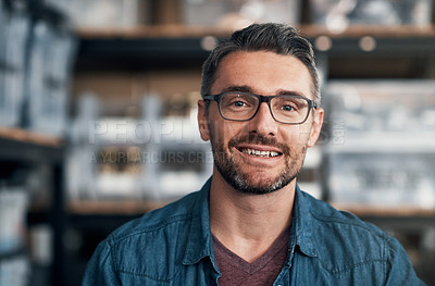 Buy stock photo Portrait of a mature man in a workshop