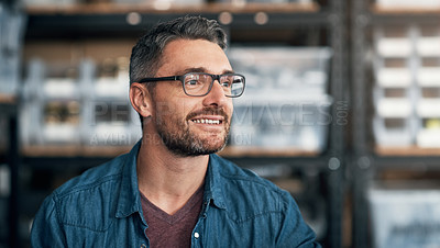 Buy stock photo Shot of a mature man in a workshop