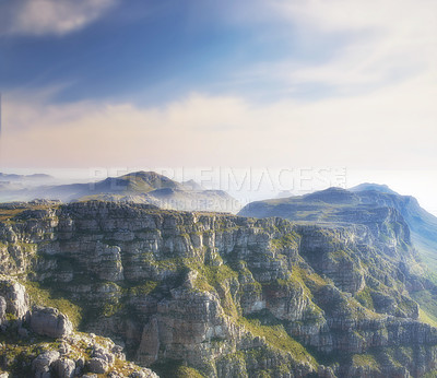 Buy stock photo View from Table Mountain - twelve apostles mountain. Cape Town, Western Cape
