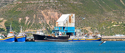 Buy stock photo Fishing boats in the harbor of Hout Bay - close to Cape Town, South Africa.
