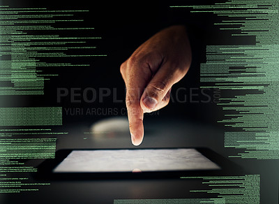 Buy stock photo Cropped shot of an unrecognizable man cracking a code using a tablet in the dark