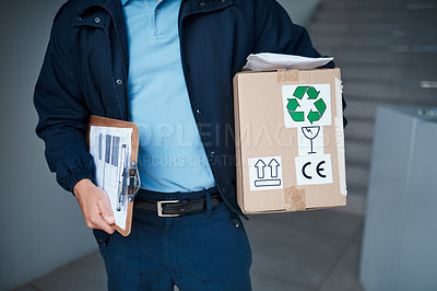 Buy stock photo Cropped shot of an unrecognizable man on his way to make a delivery