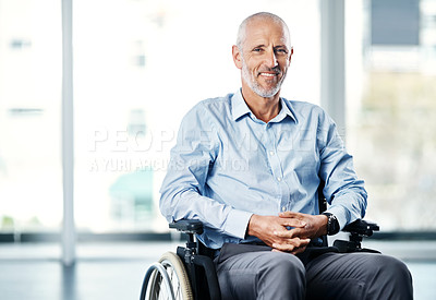 Buy stock photo Portrait of a mature man sitting in a wheelchair