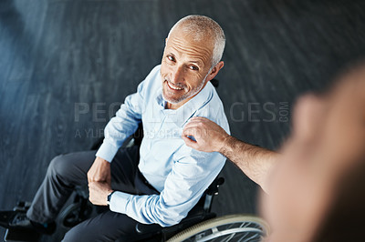 Buy stock photo High angle shot of a senior patient being cared for by a male nurse