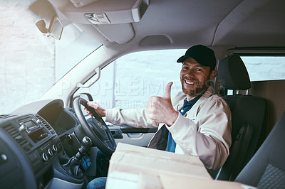 Buy stock photo Portrait of a cheerful young delivery man seated in his car with boxes while showing thumbs up during the day
