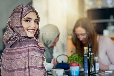 Buy stock photo Portrait of a happy young woman spending time with her friends in a cafe