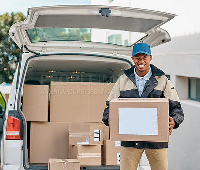 Buy stock photo Portrait of a courier unloading boxes from a delivery van
