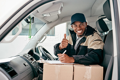 Buy stock photo Portrait of a courier showing thumbs up while sitting in a delivery van