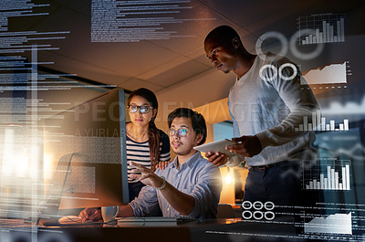 Buy stock photo Shot of computer programmers looking through data in the office