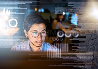 Buy stock photo Shot of a computer programmer looking through data in the office