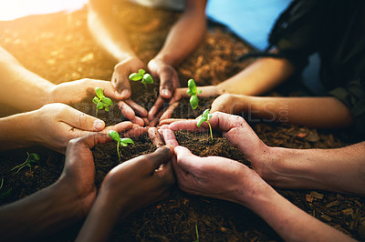 Buy stock photo Closeup shot of a group of unrecognizable people holding plants growing out of soil