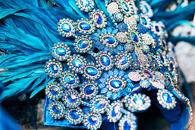 Buy stock photo Closeup shot of a costume's headwear of samba dancers for carnival with no people